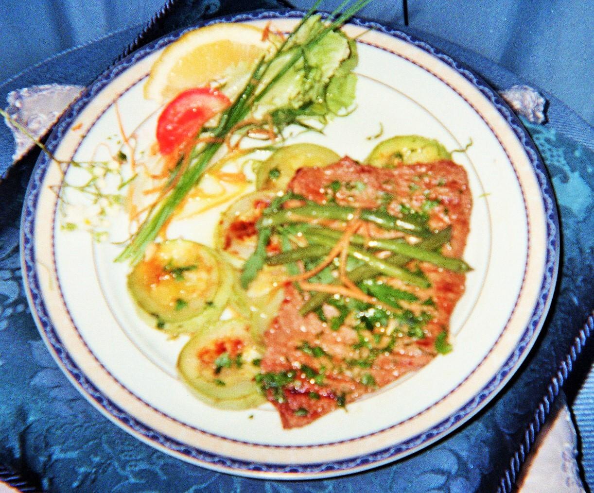 filetto sottile di manzo in salsa di acero e agrumi